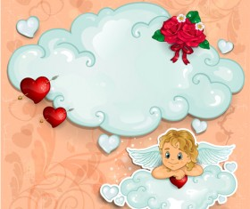 Romantic cupids with text cloud valentine day element vector 01