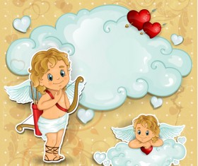 Romantic cupids with text cloud valentine day element vector 02