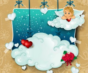 Romantic cupids with text cloud valentine day element vector 03