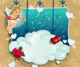 Romantic cupids with text cloud valentine day element vector 04