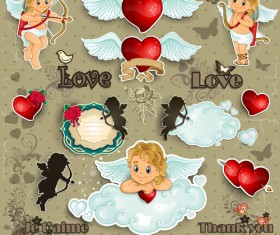 Romantic cupids with text cloud valentine day element vector 05
