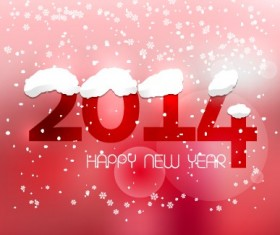 Cute 2014 New Year winter snowflake background