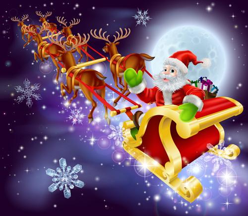 cute santa claus christmas background vector 04 - Santa Claus Christmas