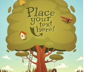 Cute cartoon trees vector background graphics 01
