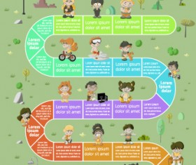 Cute kid with infographic vector