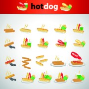 Delicious hotdog icons vector