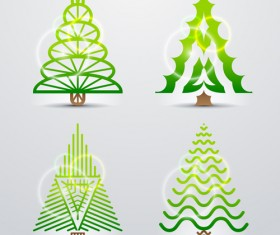 Different Christmas tree design vector 01