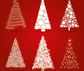 Different Christmas tree design vector 02