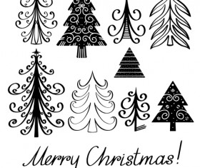 Different Christmas tree design vector 03
