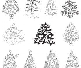 Different Christmas tree design vector 04