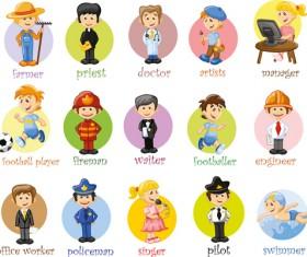 Different professions design elements vector 01