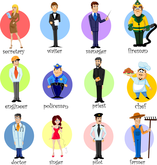Different professions design elements vector 02