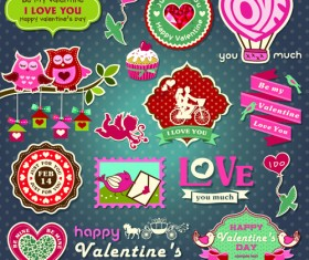Valentine Day ornament and labels vector set 01