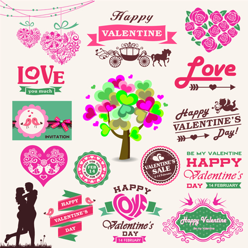 Valentine Day Ornament And Labels Vector Set   Vector Festival