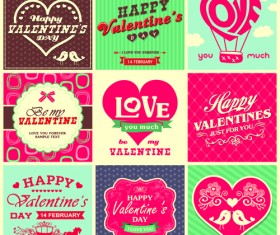 Valentine Day ornament and labels vector set 03