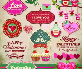 Valentine Day ornament and labels vector set 04