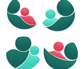 Shiny family logos design vector 04