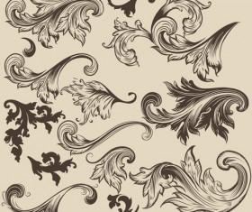 Floral swirl ornament design vector 04