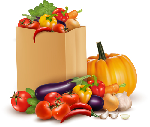 Fresh vegetables and shopping bag vector 02 - Vector Food free ...