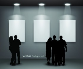 Gallery background and people silhouettes vector set 01