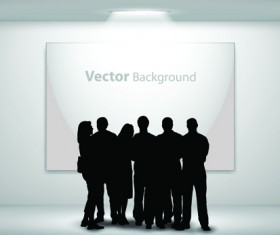 Gallery background and people silhouettes vector set 02
