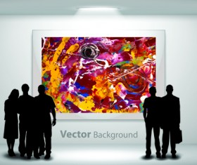 Gallery background and people silhouettes vector set 03
