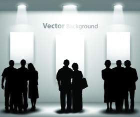 Gallery background and people silhouettes vector set 04