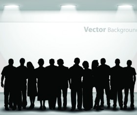 Gallery background and people silhouettes vector set 05