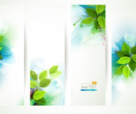 Green leaves with watercolor banner vector