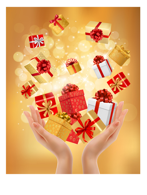 Hands And Gift Boxes Background Vector Vector Background