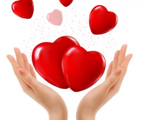 Hands and red heart vector