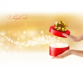 Hands with ribbon gift background vector