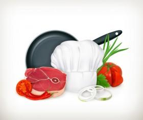 Kitchen object design elements vector 03