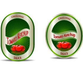 Ketchup label stickers creative vector 01