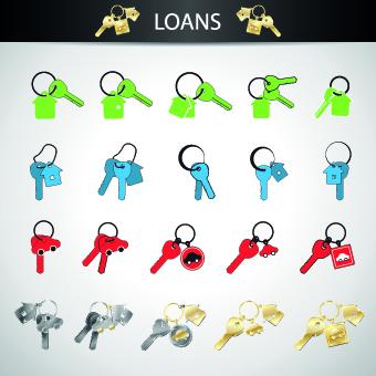 Loans design icons vectors
