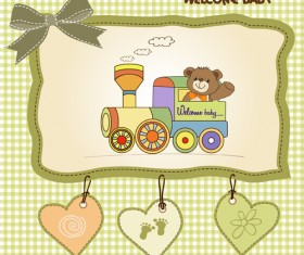 Lovely baby cards vector set 02