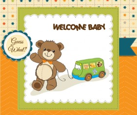 Lovely baby cards vector set 04
