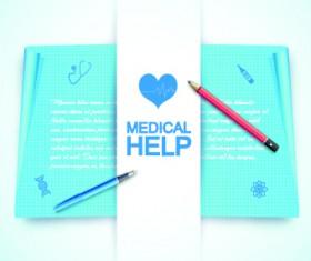 Medical help design elements vector background 03
