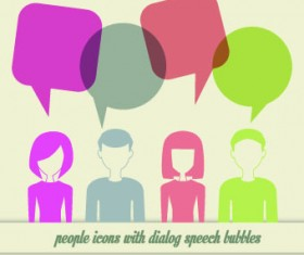 People icons and speech bubbles vector 01