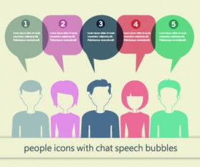 People icons and speech bubbles vector 02