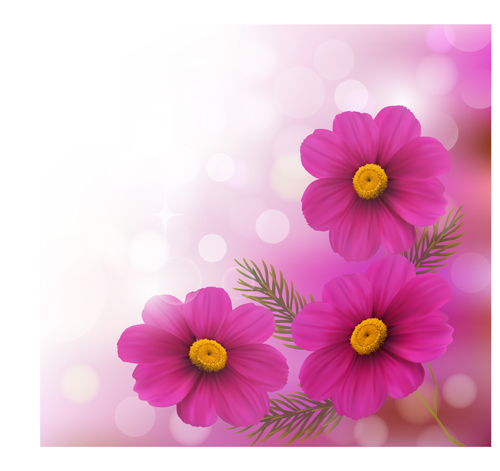 Realistic Flower Design Background Art Vector 01 Vector