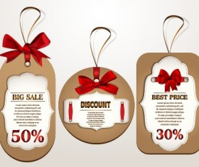 Red bow sale tags creative vector