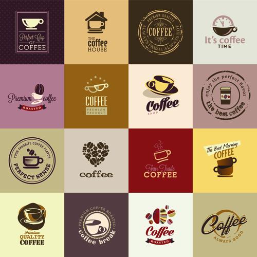 retro coffee logos creative design vector free download