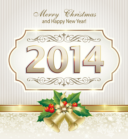 Shiny 2014 New Year frame background vector 01 free download