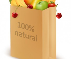Shopping Bag and Fruit design vector
