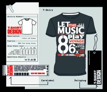 T-Shirt print and tag design vector 04 - Vector Life free download