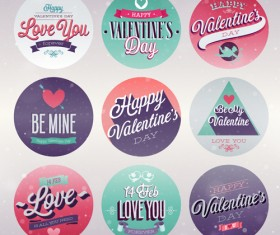 Vintage Valentine Day ornament labels vector 01