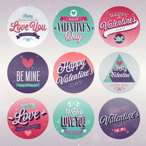 Vintage Valentine Day Ornament Labels Vector   Vector Festival
