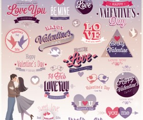 Vintage Valentine Day ornament labels vector 02