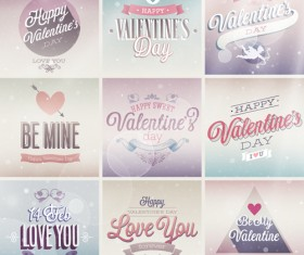 Vintage Valentine Day ornament labels vector 03